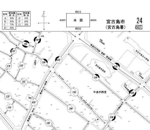 宮古島市の中心部の路線価図