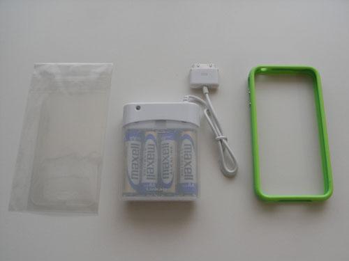 純正バンパーと補助電池と保護シール